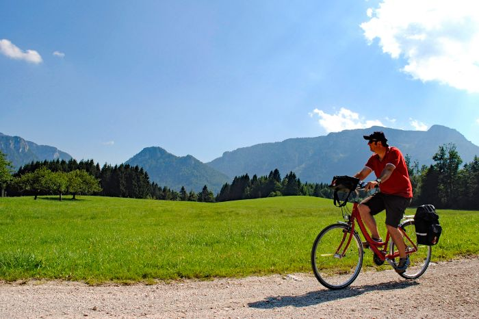 Cyclist in front of mountain panoramic view