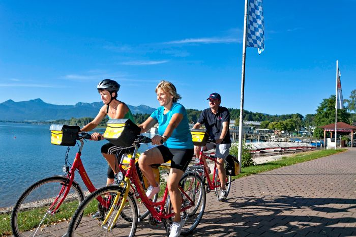 Eurobike cyclists on cycle path in Prien at Lake Chiemsee