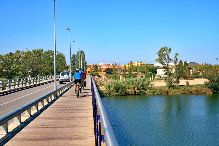 Cycle path on bridge to St. Pere Pescador